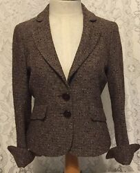 Classiques Entier Blazer Jacket Blouse Top Brown Gold Size 4 Long Sleeves