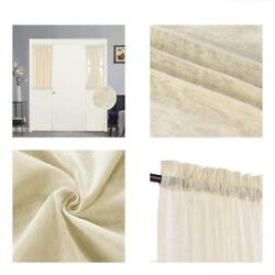 Premium Soft Linen Curtains Privacy Protection Natural Blended French Door Curta
