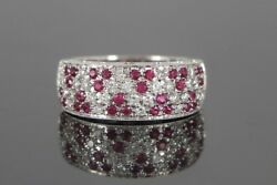 3550 Ed 18k White Gold Round Blood Red Ruby Pave Set Diamond Ring Band Size 7