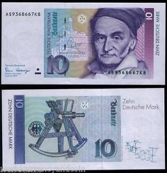 Germany 10 Mark P-38 1989 Sextant Euro Unc German World Paper Money Bank Note