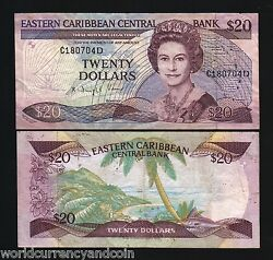 East Caribbean States Dominica 20 Dollars P24 D2 1988 Queen Boat Sign 2 Banknote