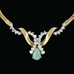 Vintage 14K Gold 1.36ct Pear Opal & Diamond Collier Statement Chain