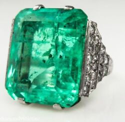 31.00 CT -GIA  Vintage Natural Colombian Green Emerald Diamond -Engagement -ring