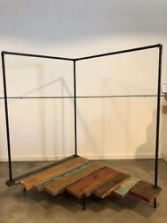 Clothing/garment Rack For Retail Display Made From Black Pipe And Reclaimed Wood