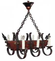 Chandelier French Rustic Iron And Wood With Six Lights Handsome Home Decor