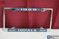 1959 Chevy Impala Gm Licensed Front Rear License Plate Holder Retainer Frame