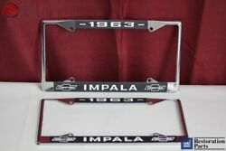 1963 Chevy Impala Gm Licensed Front Rear License Plate Holder Retainer Frames