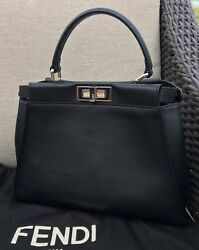 Authentic Fendi BAG BUG Peekaboo Bag in Black leather w Python Eyes Excellent