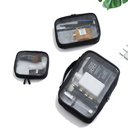 Cosmetic Makeup Toiletry Clear PVC Organizer Travel Wash Bag Holder Set