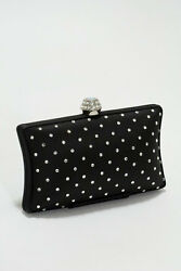 Satin and High Quality Austrian Crystals Dotted Evening Bag Clutch Purse Women