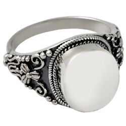Antique Round Ash Holder Cremation Urn Ring Jewelry Size 9 Sterling Silver