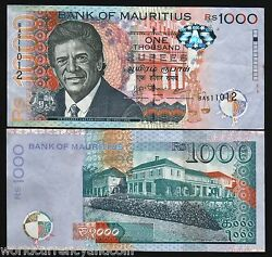 Mauritius 1000 1000 Rupees P-63 2010 Duval Aunc Currency Money Bill Bank Note