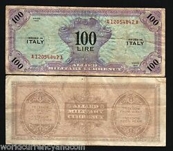 Italy 100 Lire P M15 1943 Allied Military Payment Mpc Money Bill War Bank Note