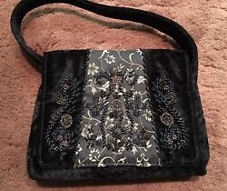 Vintage Bueno Purse Evening Bag Black Velvet with Floral Beading Magnetic Clasp $32.99