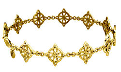 New Womenand039s 10k Or 14k Yellow Gold Irish Celtic Four Point Link Bracelet