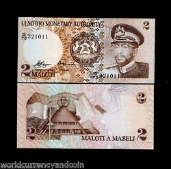 Lesotho 2 Maloti P1 1979 King Unc 1st Bank Note Rare Africa Money Bill Bank Note