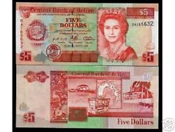 Belize 5 Dollars P58 1996 Queen Unc Boat Columbus Tiger Animal Currency Note