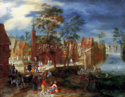 Gysels Pieter A Village Scene With Peasants Strolling By A River Bank Artist Oil