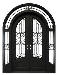 Wrought Iron Double Front Door,86''x108'',Double Insulation Glass,Sidelight