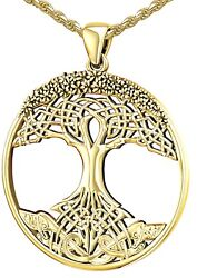 New Womenand039s 1 3/8in 10k Or 14k Yellow Gold Modern Tree Of Life Pendant Necklace