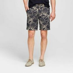Goodfellow And Co Menand039s 9 Tropical Print Blue Linden Flat Front Shorts Pick Size