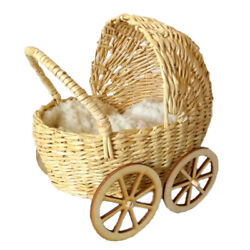 Miniature Baby Carriage Rattan Look Wicker Doll Stroller With Wooden Wheels Pram