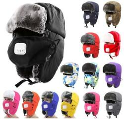 Men Women Winter Ski Bomber Hat Trapper Hat Aviator Trooper Fur W/ Ear Flap Ahh