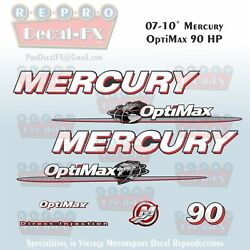 07-10 Mercury Optimax Globe 90hp Direct Injection Outboard Repro 8 Pc Decals
