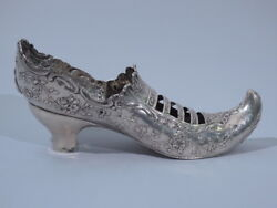 Antique Shoe - Figural Ladyand039s Slipper W/ Elf Toe - English Sterling Silver