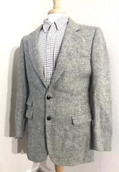Vintage Harris Tweed 80and039s Sport Coat Jacket Menand039s 40l Long Gray Off-white Fleck