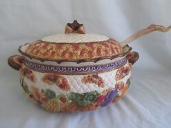 Fitz And Floyd 1995 Harvest Times Omnibus Tureen And Ladle