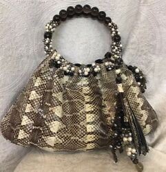 Conino Lamborghini Snakeskin Print Purse Pearl Embellished Handles WIth Pouch