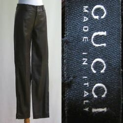 Gucci Leather Pants Espresso Brown Butter Soft Skinny Cigarette Cut Zipper Ankle