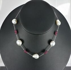 Mc 18k White Gold Red Round Ruby South Sea Baroque Pearl Heart Chain Necklace 17