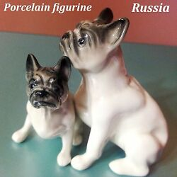 French bulldog porcelain figurines Dogs realistic miniature Souvenirs Russia