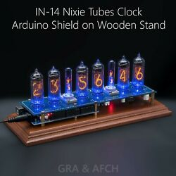 Arduino Shield Ncs314 In-14 Nixie Clock On Vintage Wooden Stand [with Options]