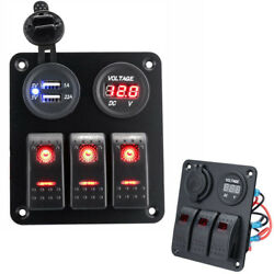 3 Gang Waterproof USB Toggle Automotive Switch Panel LED Car Marine Rocker T1M9