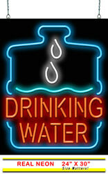 Drinking Water Neon Sign | Jantec | 24 X 30| Ice Cold Drinks Bar Soda Fountain
