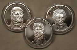 1oz Silver Shield Coins 5, 6 And 7 The Presidential Series 3 Silver Round Coin Set