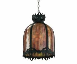 Pendant Dome Lamp Slag Glass And Patinated Metal Hanging Charming 31 H