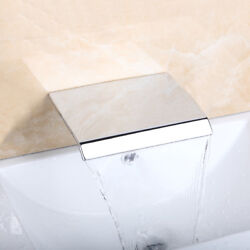 Chrome Bathtub Faucet Spout Outlet Wall Mounted Waterfall Brass Single Hole