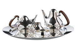 Georg Jensen Sterling Silver Henning Koppel Tea and Coffee Set with Tray no 1017