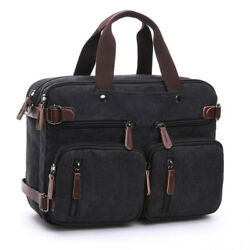 Mens Canvas Briefcase 15quot; Laptop Backpack Large capacity Crossbody Messenger Bag $28.51