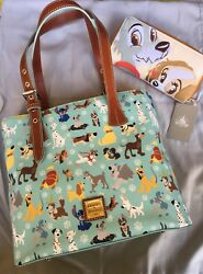 Disney Dooney And Bourke DOGS Print Tote Sold Lady & Tramp Checkbook Japan
