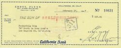 Errol Flynn - Signed Personal Cheque Dated 1947