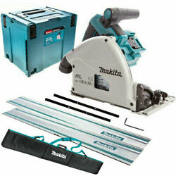 Makita Dsp600zj 36v Brushless 165mm Plunge Saw + 2 X 1.5m Guide Rail Bag And Case