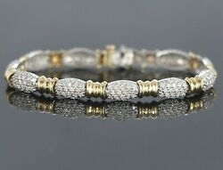 6500 Bh Effy 14k Yellow White Gold 198 Diamond 3.00ct Tennis Link 7and039and039 Bracelet