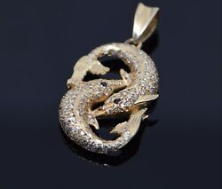 14k Yellow Gold Dolphin Pendant With Diamond And Sapphires
