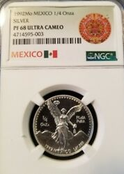 1992 Mexico Silver Libertad 1/4 Onza Ngc Pf 68 Ultra Cameo Low Mintage Key Coin