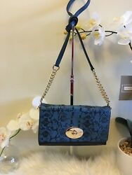 NWT Coach Crosstown Crossbody Exotic Embossed Navy Blue Leather 36527 $225 $78.00